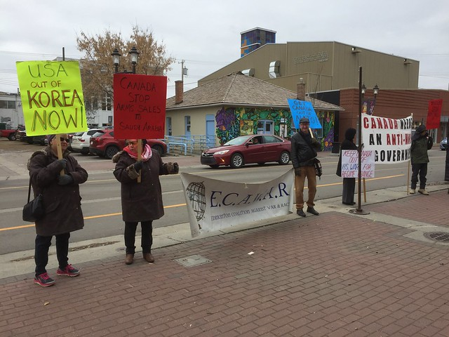 Peace Picket - Edmonton Coalition Against War and Racism - Oct. 13, 2018