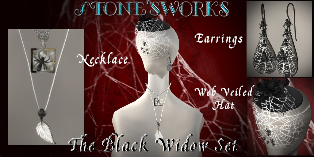 Black Widow Net Hat Earrings Necklace Set - TeleportHub.com Live!