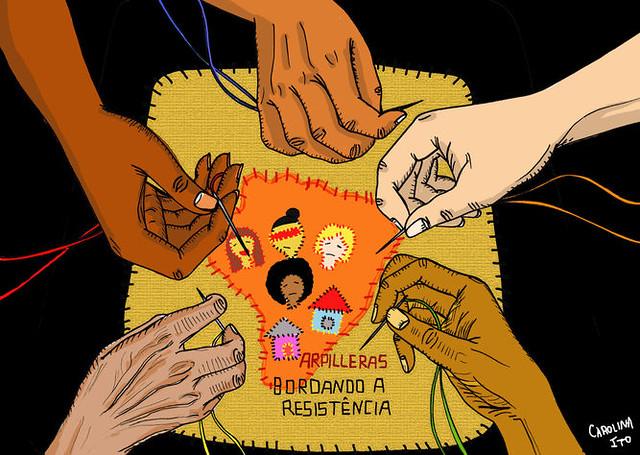 Inspiradas pelo exemplo histórico das arpilleristas chilenas, mulheres do MAB denunciam violações e buscam direitos através da costura - Créditos: Divulgação/ MAB
