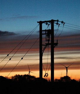 Power Lines and Poles - Silhouette Sunrise