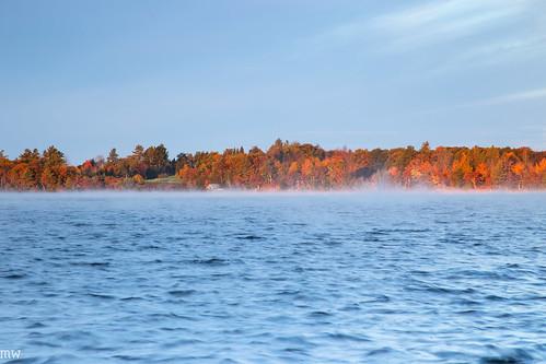 fall dublin lake new hampshire sunrise morning calm england foliage waves