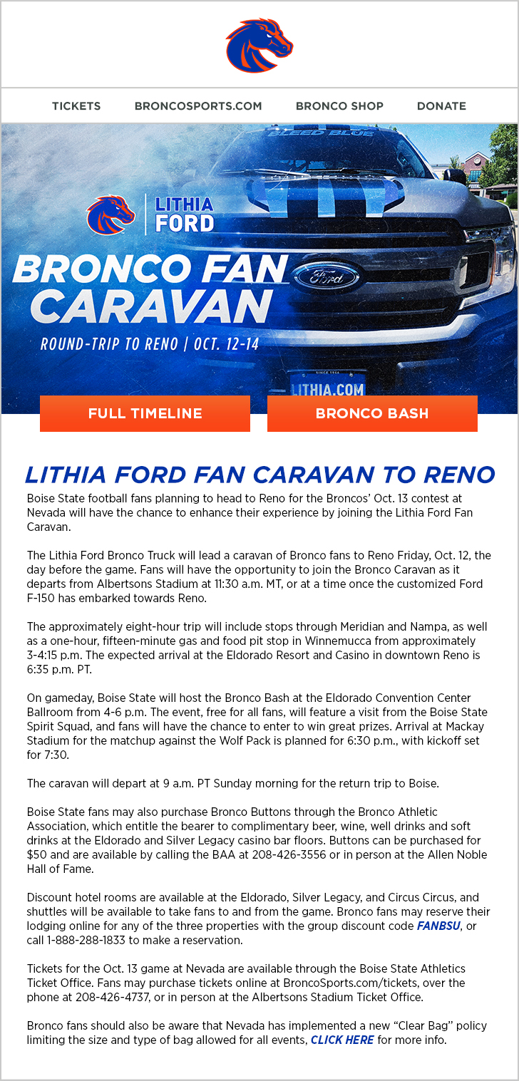 Lithia Ford Boise >> Lithia Ford Bronco Fan Caravan To Reno Boise State