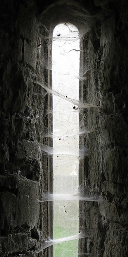 Cobwebs gather in a Kinsale church window, Ireland