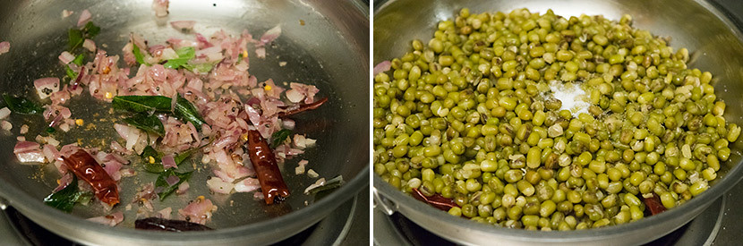 Pachai Payaru Sundal/Green Gram Sundal cooking steps by GoSpicy.net