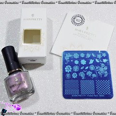 Esmalte Shadow Grey + placa Flower Yarn S002 - Born Pretty