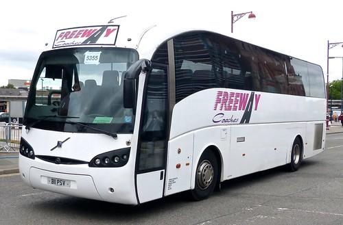 B11 PSV 'Freeway Coaches', Pinxton, Notts. Volvo B12B / Sunsundegui Sideral on Dennis Basford's railsroadsrunways.blogspot.co.uk'