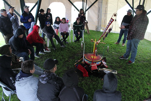 <p>Fall Harvest participants learn about the traditional drum</p>