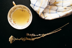Herbal tea on dark background