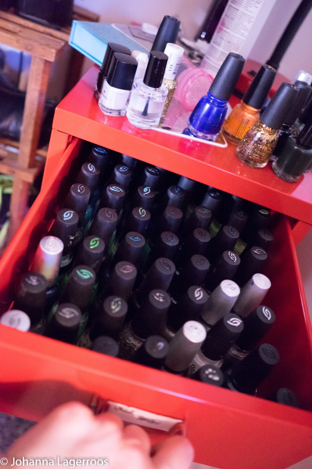 arranged nail polish