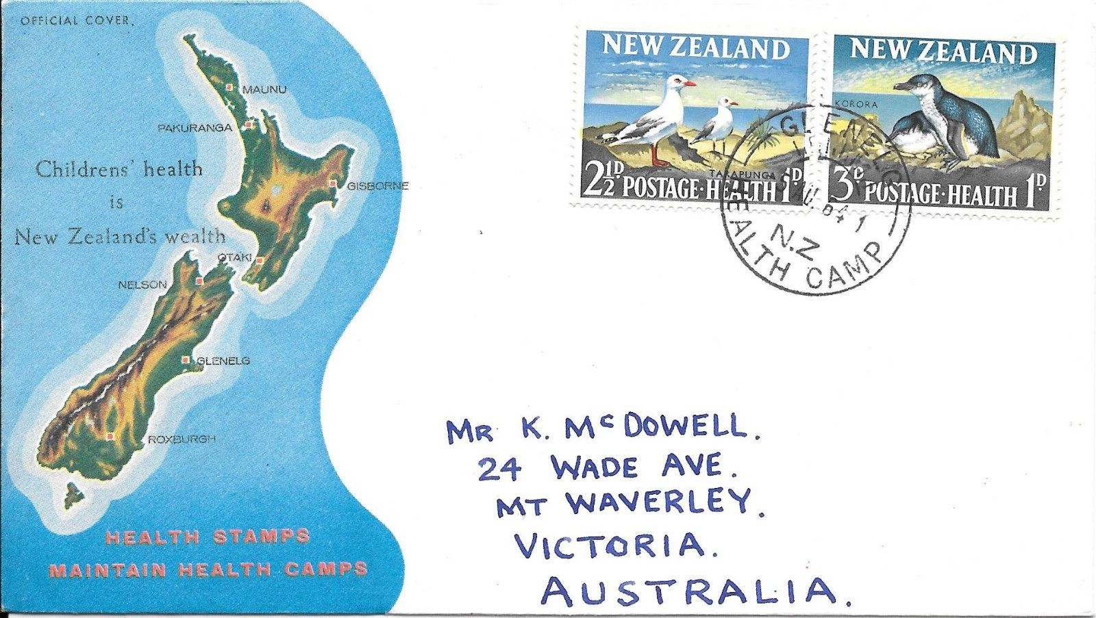 New Zealand - Scott #B67-B68 (1964) - first day cover postmarked at Glenelg Health Camp, New Zealand. Glenelg Children's Health Camp was situated above the hillside suburb of Murray Aynsley Hill in Christchurch. The school for children with behavioral problems was officially opened in April 1945 and closed by the Minister of Education, Anne Tolley, in January 2012.