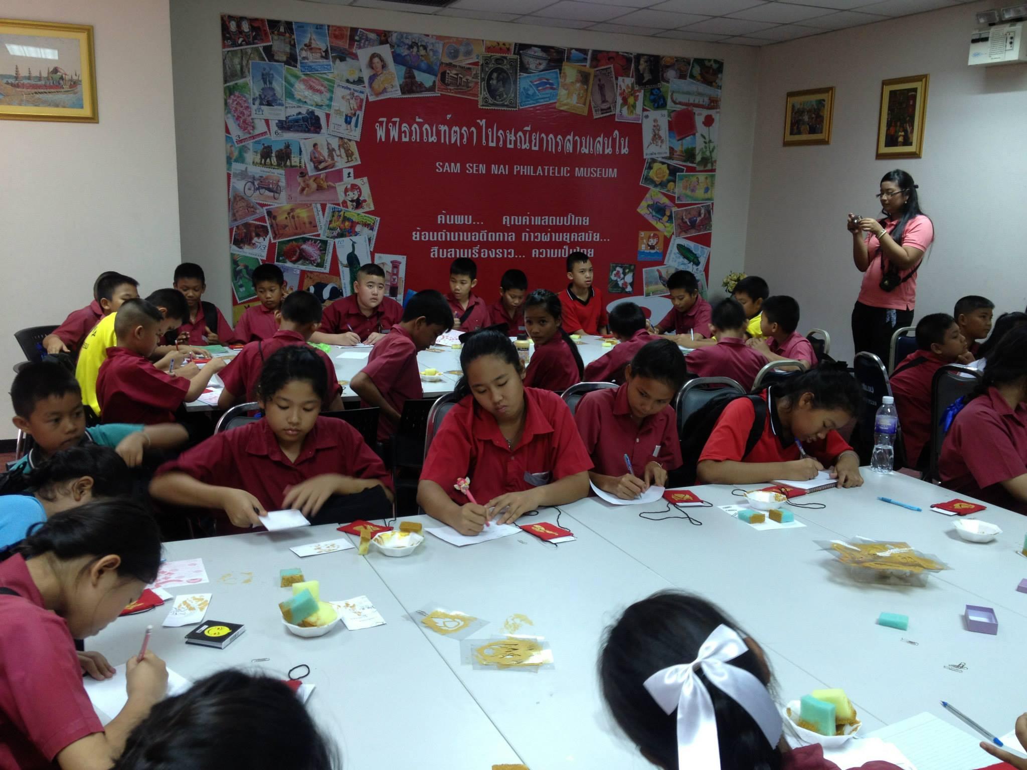 Thai schoolchildren at Sam Sen Nai Philatelic Museum during a visit to Bangkok to attend the Thailand 2013 World Stamp Exhibition in August 2013.