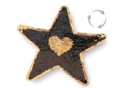 Wechsel Pailletten Patch STERN, schwarz-gold, XL Farbwechsel Applikation ca.22cm