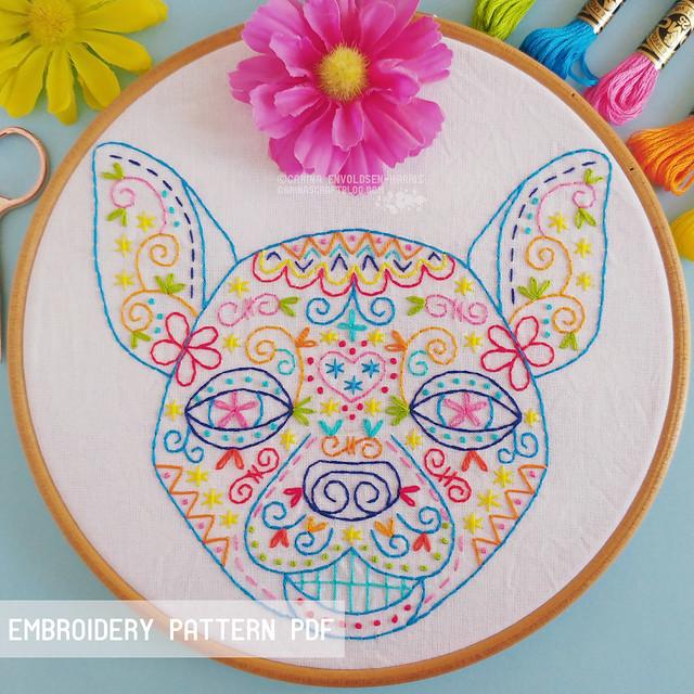Calavera Chihuahua embroidery pattern
