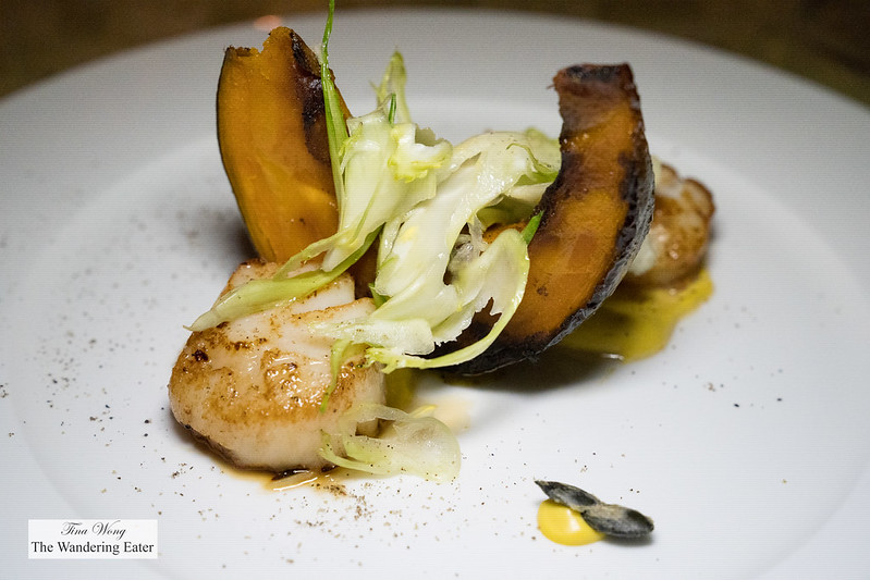 Scallop and roast pumpkin, fennel, ginger