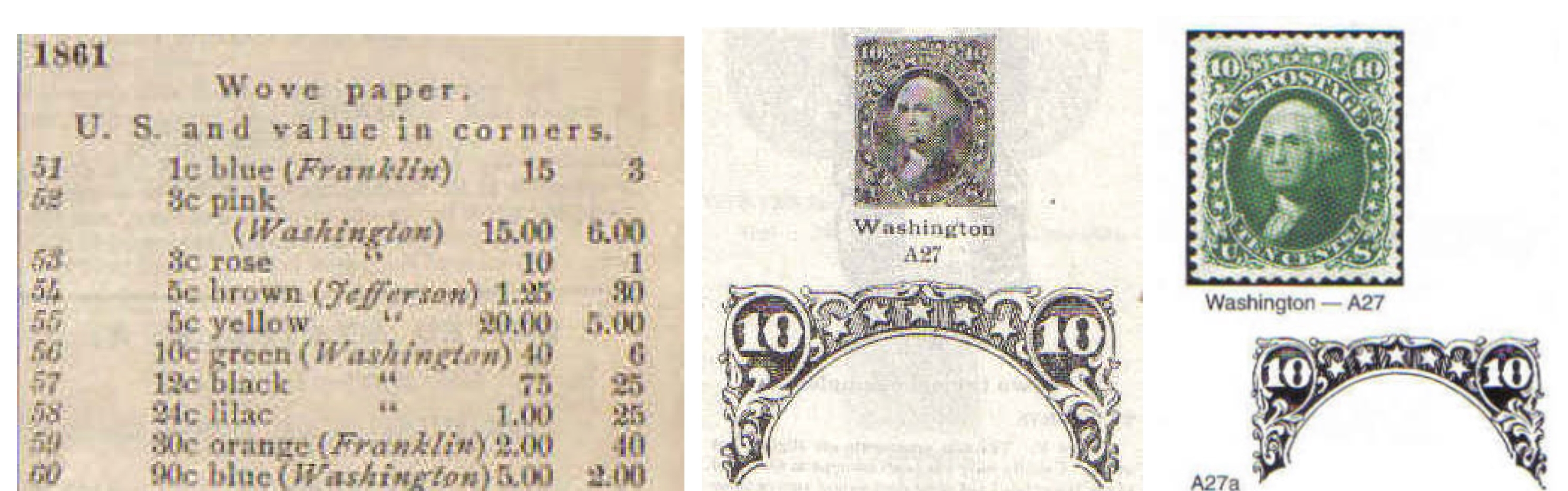 Scott catalogue listings for the same stamp (Scott #68): 1895 edition on the left just lists the descriptions and values (the 10-cent green Washington is here listed as #56); many of the early illustrations were rather poor quality, as seen in the 1939 edition in the middle; now, most listings in the Scott catalogue are in full color with improved die-cuts as seen in the 2005 catalogue on the right.