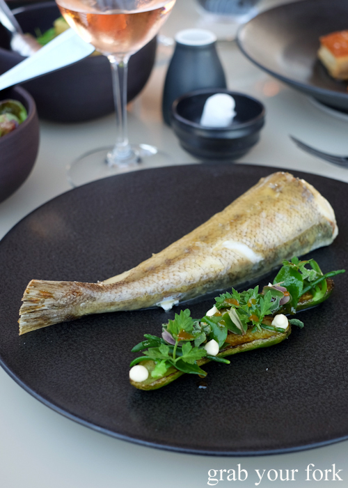 Whole roasted tiger flathead tail at Bennelong Restaurant in the Sydney Opera House
