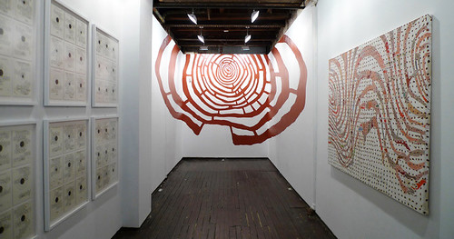 Across Doom Hopes the Guiding Fever, anamorphic wall drawing, LMAKprojects, New York, NY, 2012. Artist Nayda Collazo-Llorens