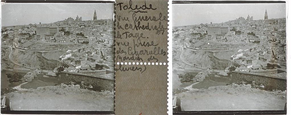 Vista general de Toledo desde el Valle  hacia 1935. Cristal estereoscópico de autor anónimo francés. Colección de Eduardo Sánchez Butragueño