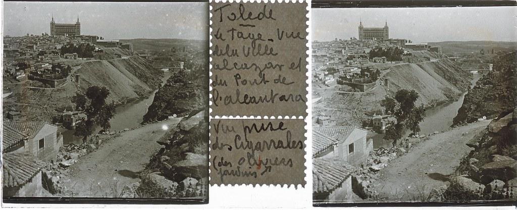 Vista de Toledo y de la ermita del Valle  hacia 1935. Cristal estereoscópico de autor anónimo francés. Colección de Eduardo Sánchez Butragueño