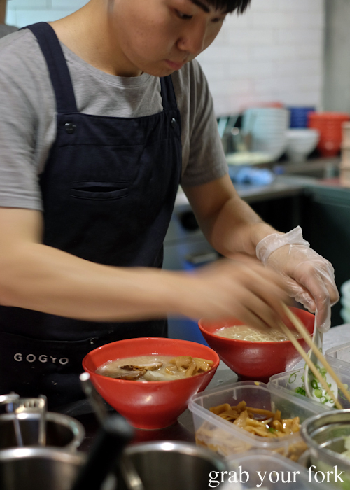 Building ramen bowls at Gogyo by Ippudo in Surry Hills Sydney