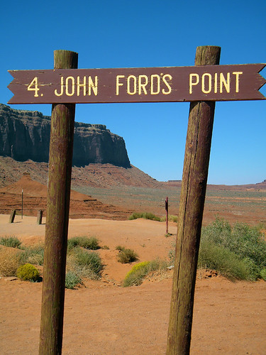 Sign for John Ford's Point in Monument Valley, within the Navajo Nation land that straddles the Arizona-Utah border