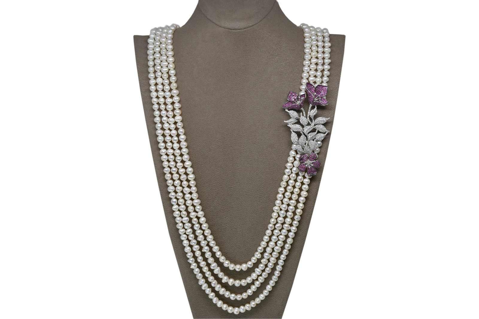 - Ahsen 925K Gümüş Broşlu (Mor Renkli) 4 Sıralı Doğal Beyaz inci Kolye AH-00114