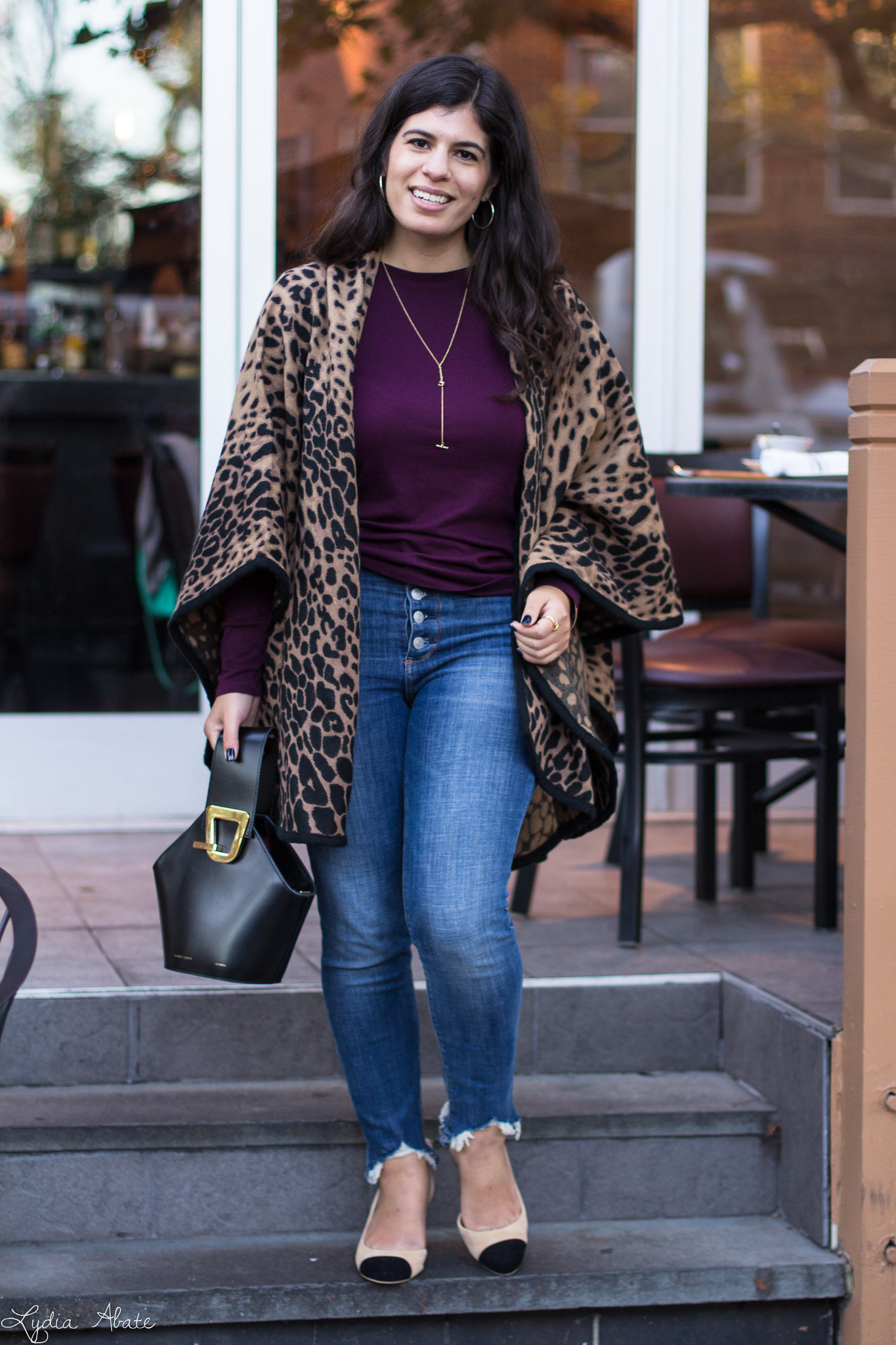 Leopard wrap, burgundy top, button fly jeans, toe cap heels-2.jpg