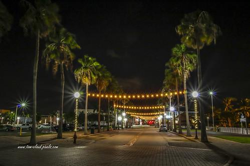 downtown night nightshot lights streetlight lamppost lamppostcityscape cityscape outdoors longexposure palms palmtrees trees street avenue road nighttime nighttimefortpierce florida avenuea usa