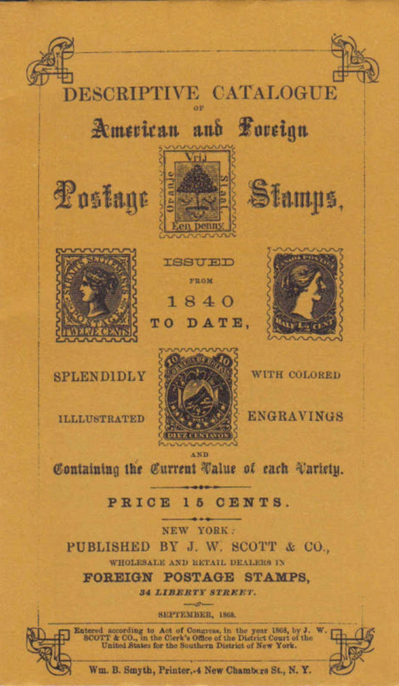The first Scott catalogue, June 1868