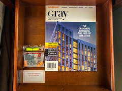 Gray Magazine and Ear Plugs in Drawer at Hotel Lucia in Portland