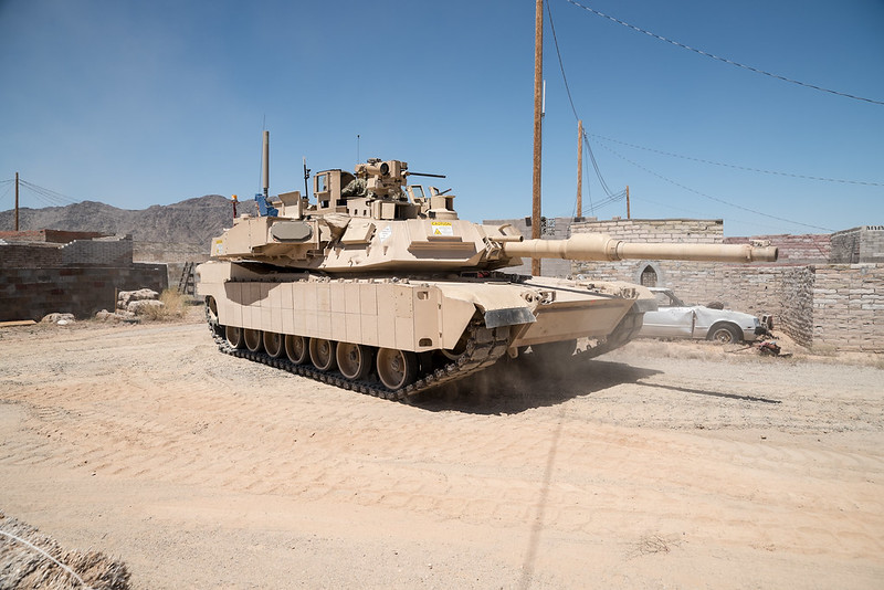 US Army M1 Abrams tank with Trophy Active Protection Systems (APS) and improved protection for machinegun operator.