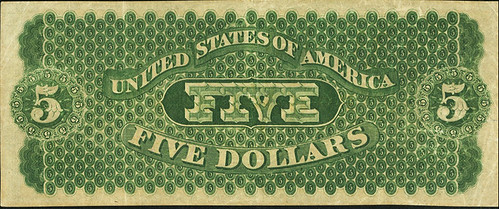 $5 1861 St. Louis Demand Note back