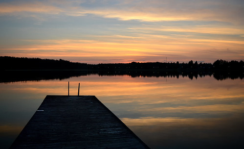 Sunset on the lake. Colors of autumn. Finland.
