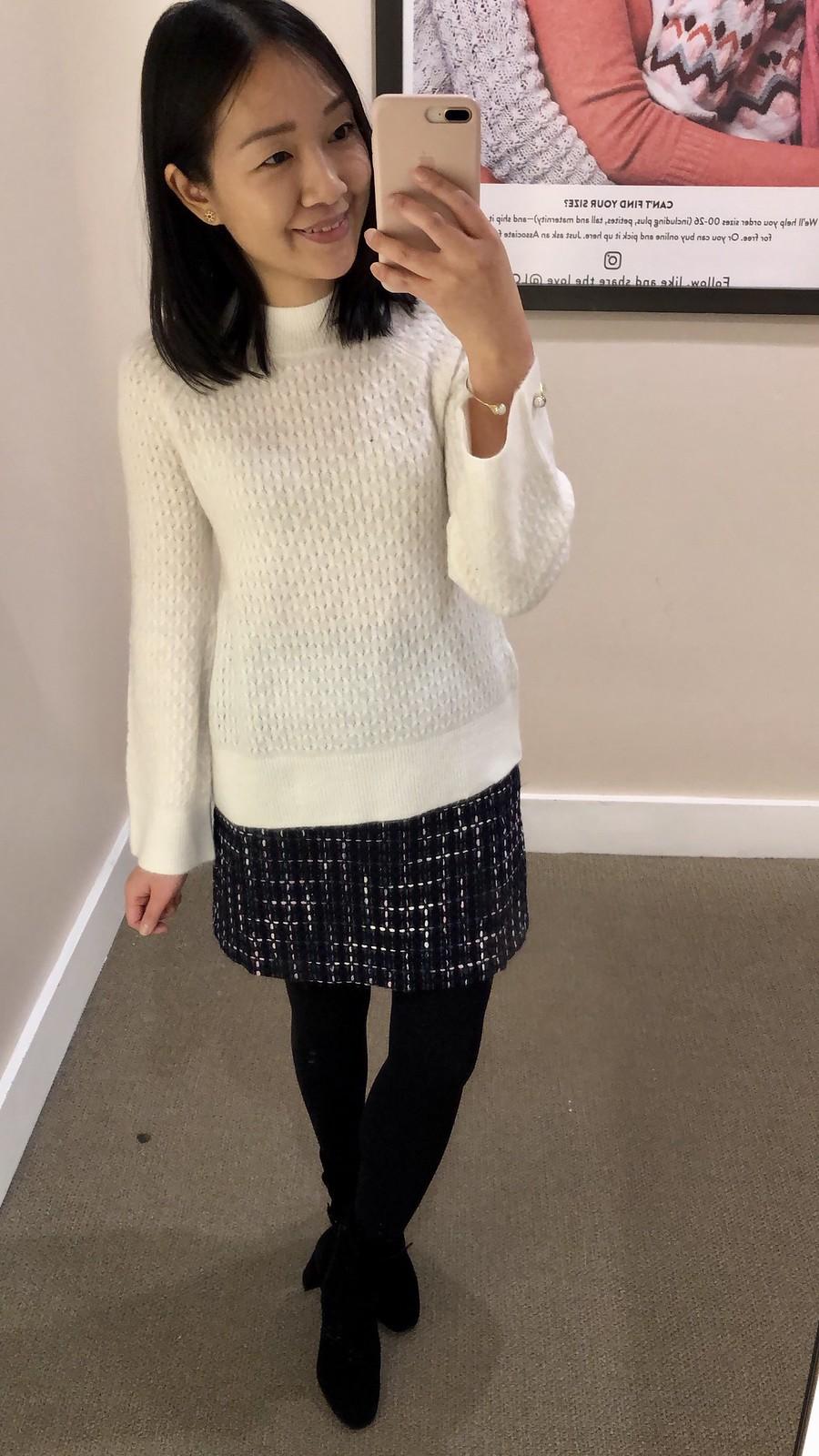 LOFT Stitchy Flare Sleeve Sweater, size XSP