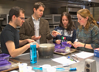 Dennis D'Amico works with students to develop aronia berry yogurt in his undergraduate Dairy Technology course.