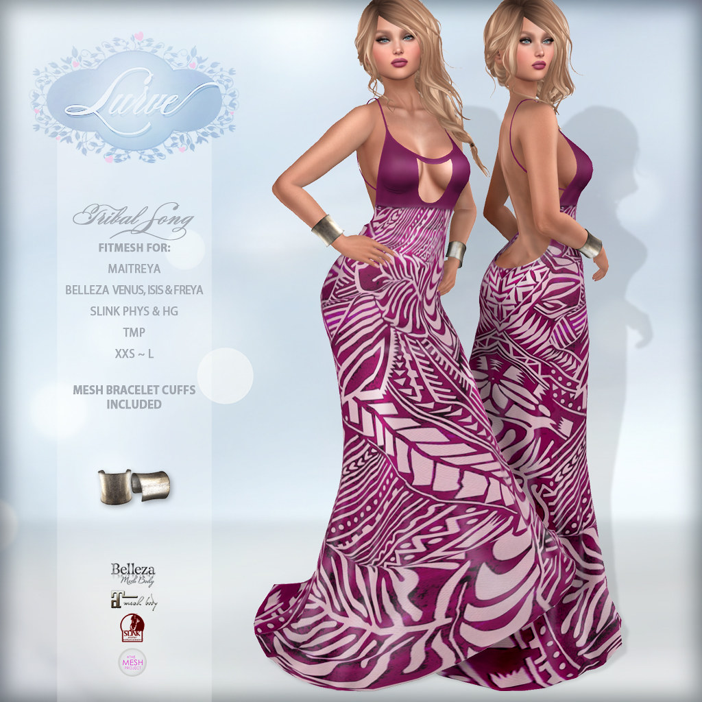 *Lurve* Tribal Song Fitmesh Gown – Magenta