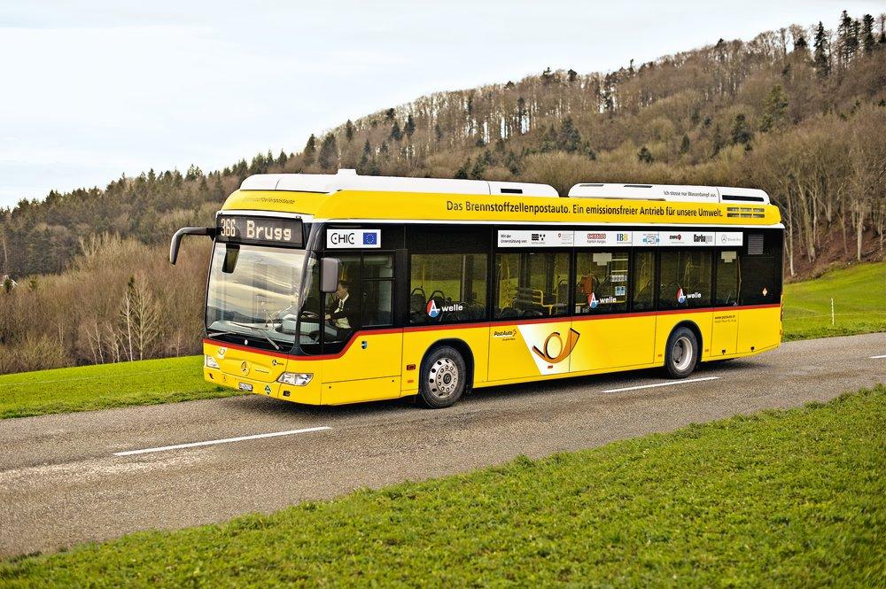 Modern fuel-cell post bus in Switzerland. Photo taken in 2011.