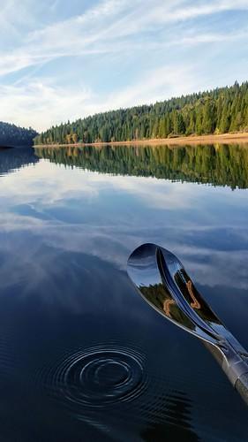 sugarpinereservoir kayaking paddling lake california pine trees fall scenic nature water reflection