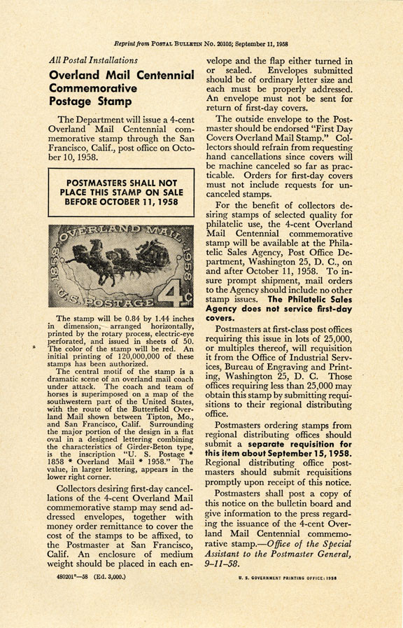 U.S. Post Office Department announcement for the issued design of the 1958 Overland Mail stamp.