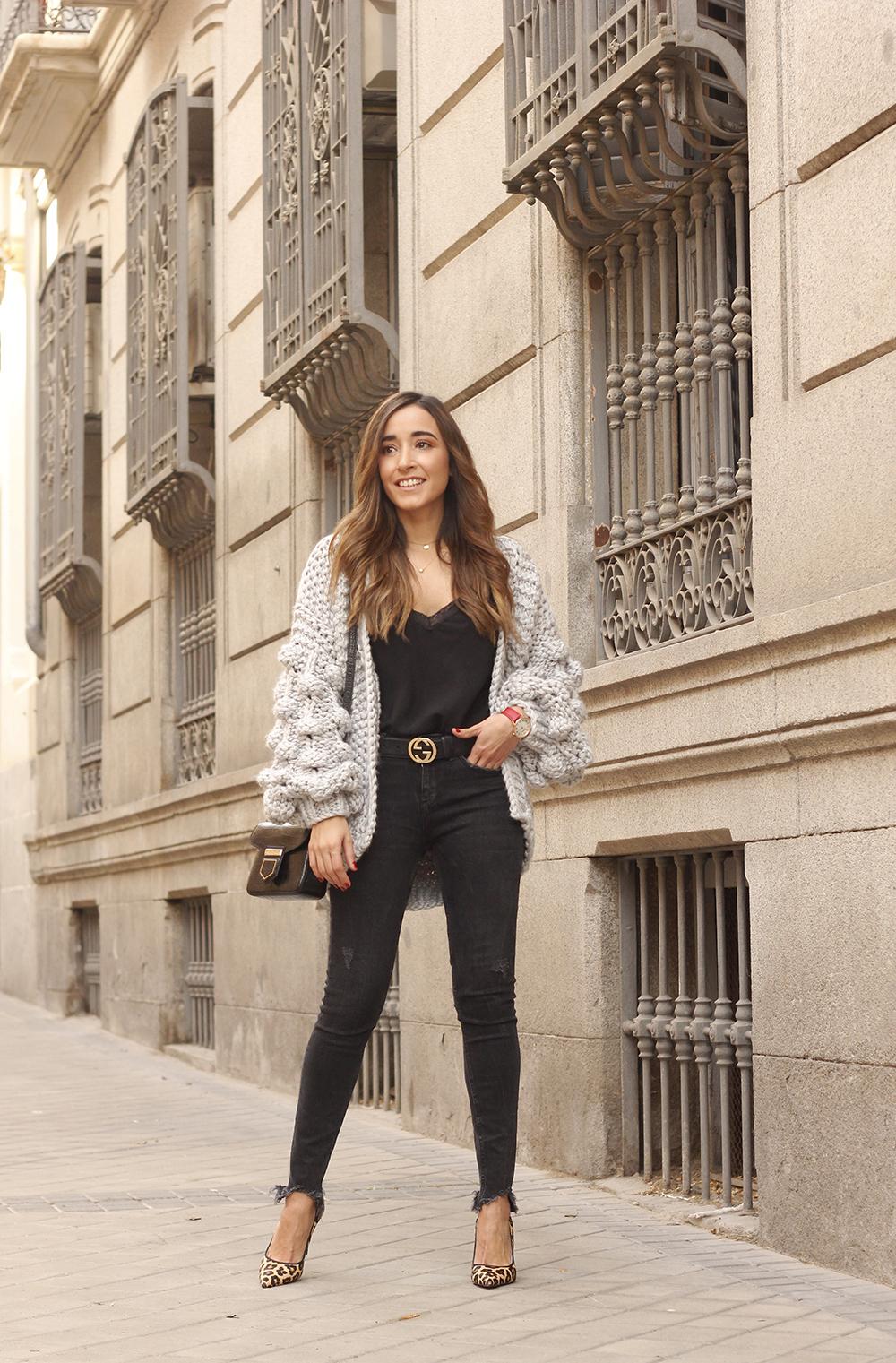Grey cardigan black jeans folli folie watch leopard print heels starbucks tea street style fall outfit 201805