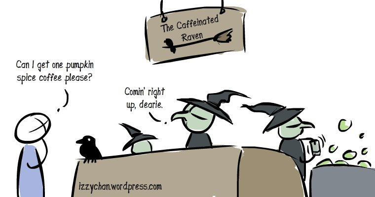 the caffeinated raven coffee shop run by witches drawlloween