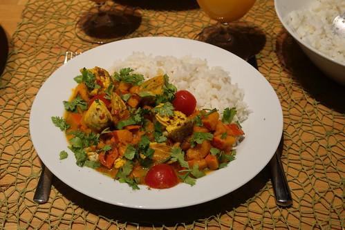 Indisches Fischcurry mit Kürbis (mein Teller)