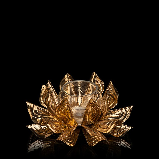 lotus gold tea light holder