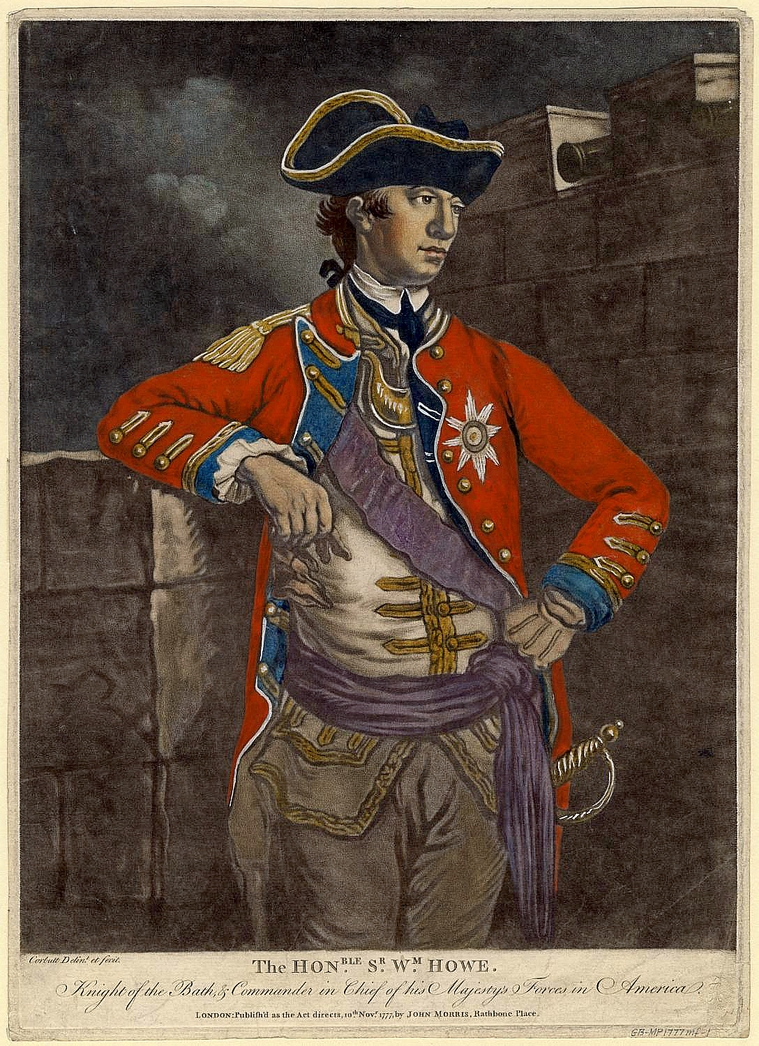 Color mezzotint of General Sir William Howe, 5th Viscount Howe, created by Richard Purcell aka Charles Corbutt in November 1777. From the Anne S.K. Brown Military History Collection at Brown University.