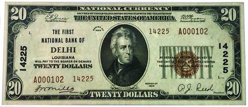FNB of Delhi, Louisiana $20 national Bank Note