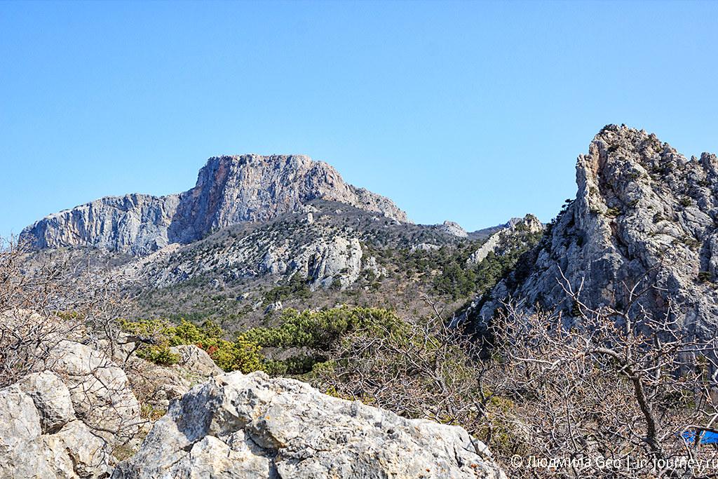 Вид на горы с мыса Сарыч в Крыму