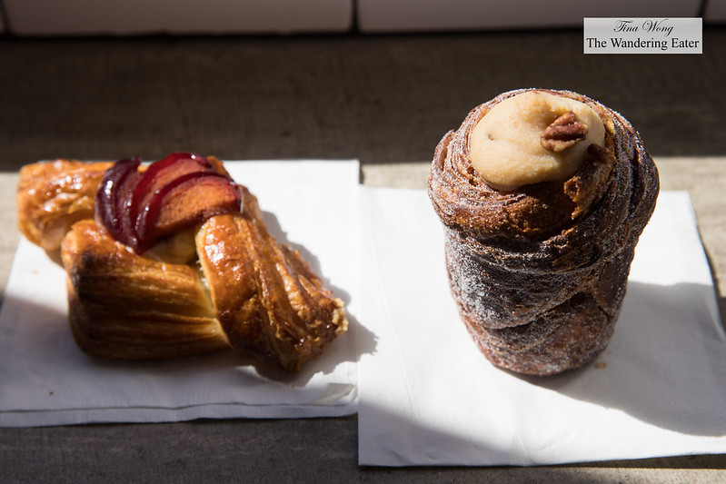 Plum tea-cream danish and Pecan pie Cruffin