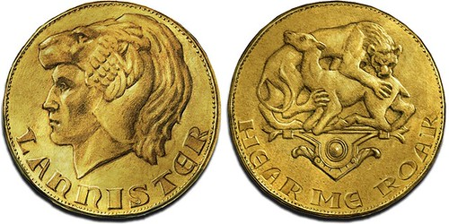 Loreon I Lannister Gold Lion fantasy coin