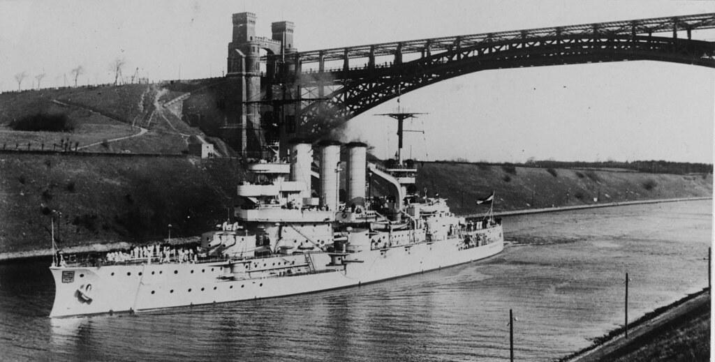 Hessen (German battleship, 1905) Passing under the Levensau Bridge while transiting the Kiel Canal, circa 1925-1934.