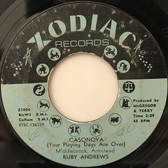 RUBY ANDREWS:CASANOVA(YOUR PLAYING DAYS ARE OVER)(LABEL SIDE-A)